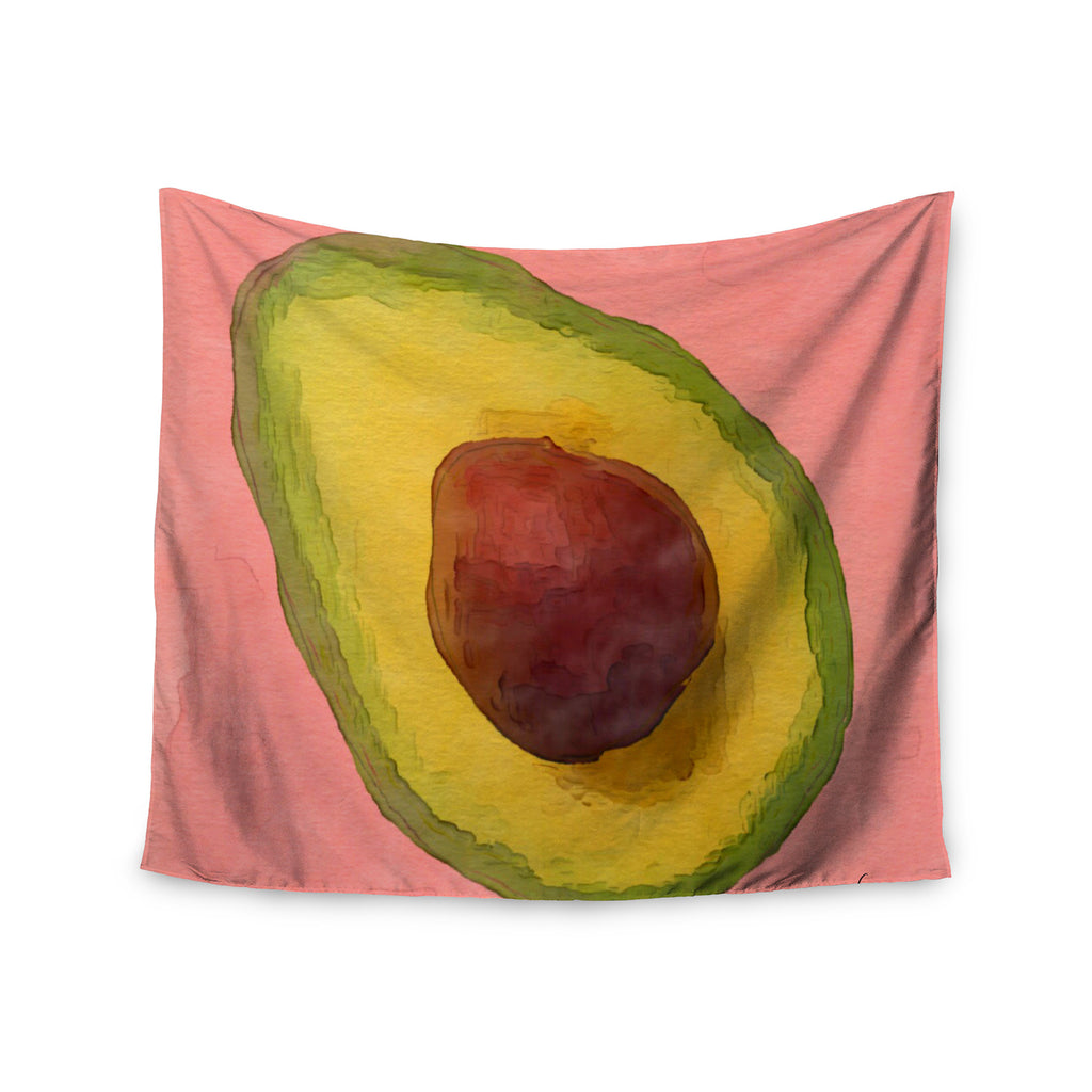 "Oriana Cordero  ""Avocado For Lola"" Green Pink Wall Tapestry - KESS InHouse  - 1"