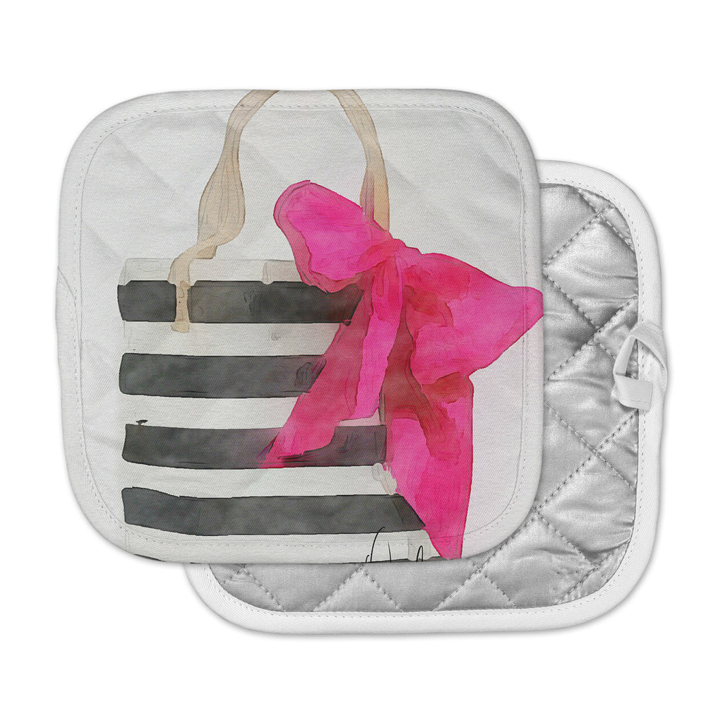 "Oriana Cordero  ""French Outing"" Black Pink Pot Holder"