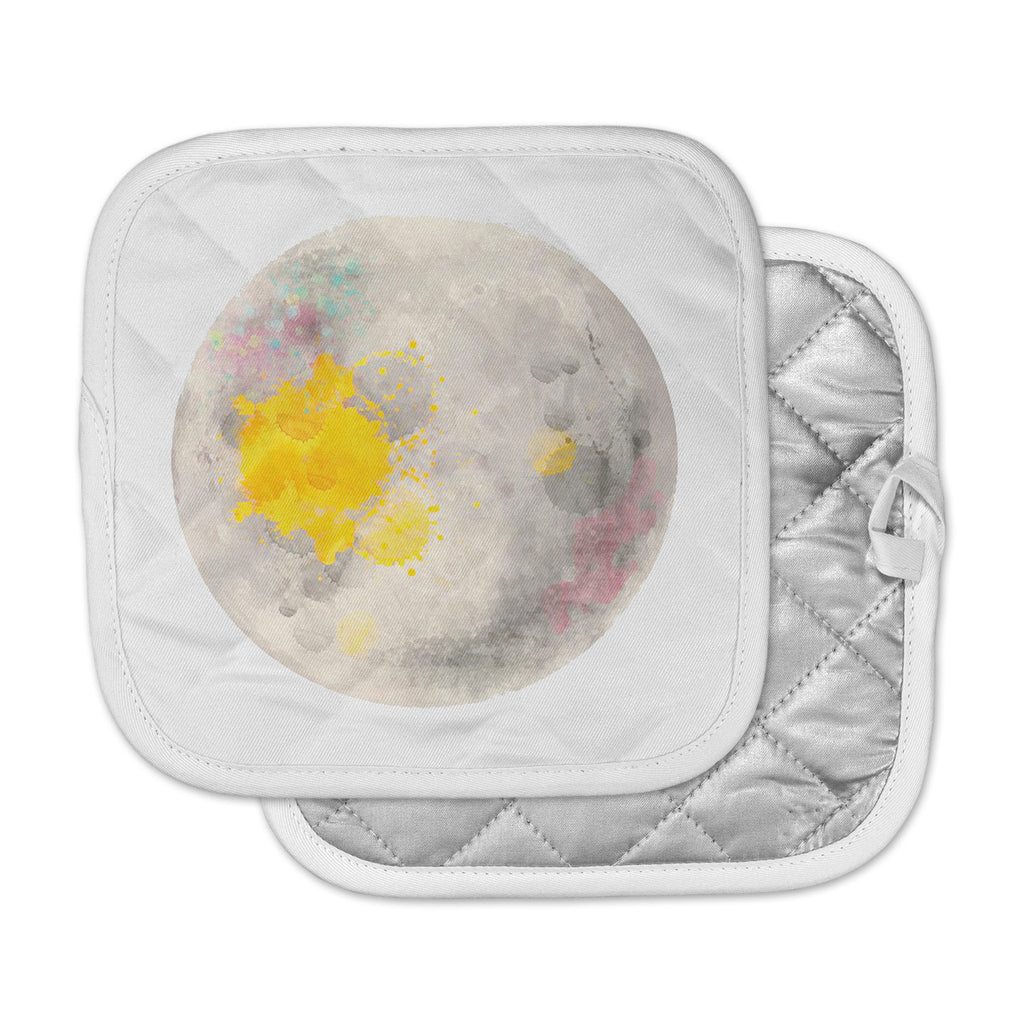 "Oriana Cordero  ""Moonlight"" Gray Yellow Pot Holder"