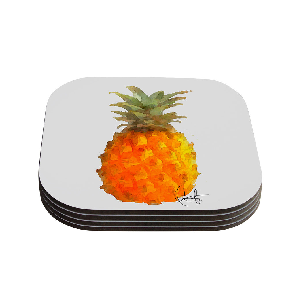 "Oriana Cordero  ""Before Pina Colada"" Orange Green Coasters (Set of 4)"
