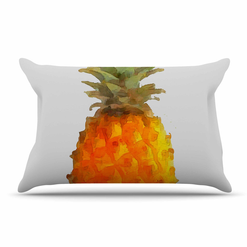 "Oriana Cordero  ""Before Pina Colada"" Orange Green Pillow Sham - KESS InHouse  - 1"
