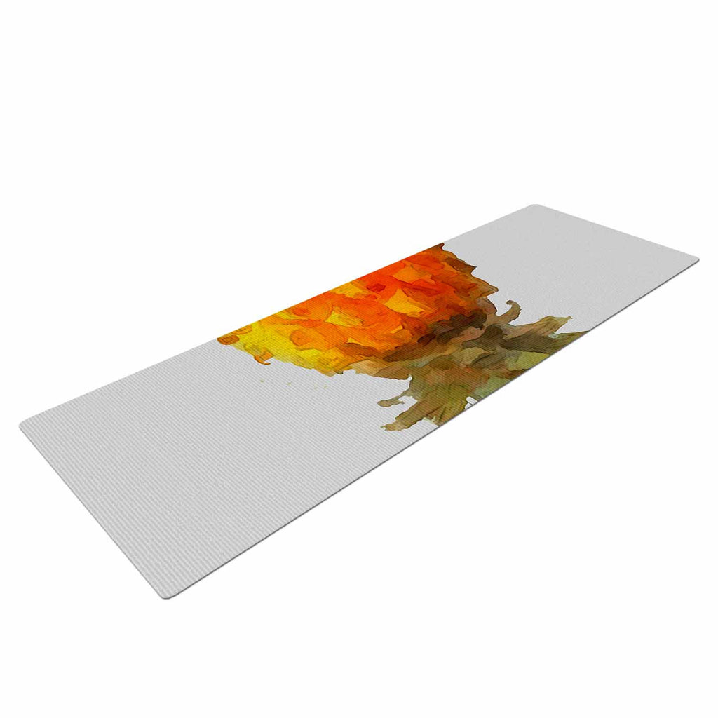 "Oriana Cordero  ""Before Pina Colada"" Orange Green Yoga Mat - KESS InHouse  - 1"