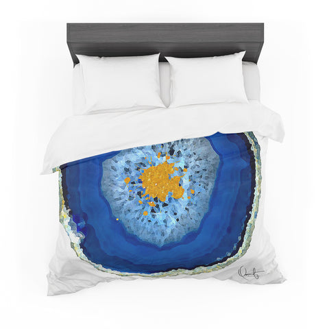 "Oriana Cordero ""Agate Blue"" Blue Orange Featherweight Duvet Cover"