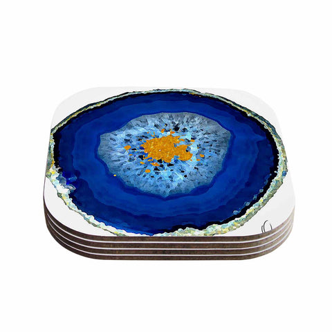 "Oriana Cordero ""Agate Blue"" Blue Orange Coasters (Set of 4)"