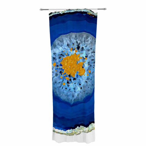 "Oriana Cordero ""Agate Blue"" Blue Orange Decorative Sheer Curtain - KESS InHouse  - 1"