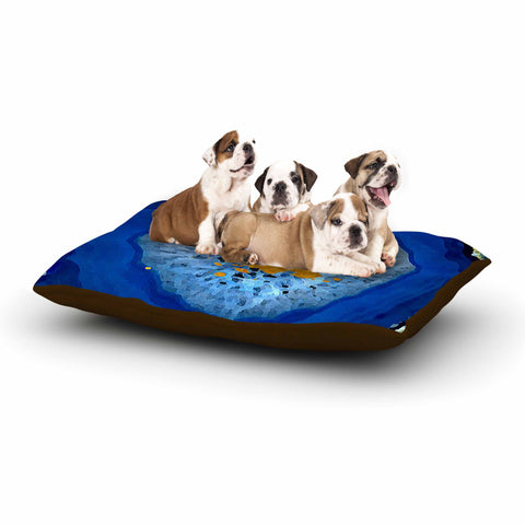 "Oriana Cordero ""Agate Blue"" Blue Orange Dog Bed - KESS InHouse  - 1"