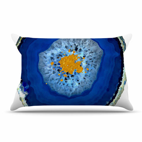 "Oriana Cordero ""Agate Blue"" Blue Orange Pillow Sham - KESS InHouse  - 1"