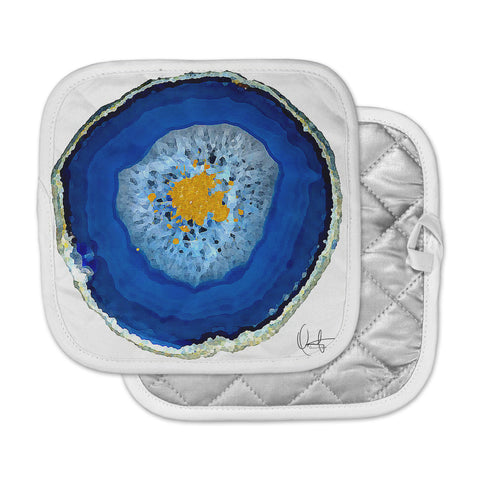 "Oriana Cordero ""Agate Blue"" Blue Orange Pot Holder"