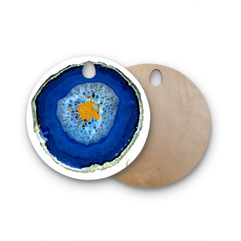 "Oriana Cordero ""Agate Blue"" Round Wooden Cutting Board"