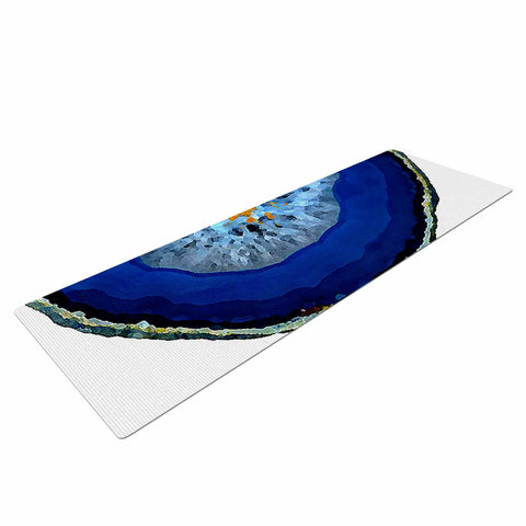 "Oriana Cordero ""Agate Blue"" Blue Orange Yoga Mat - KESS InHouse  - 1"