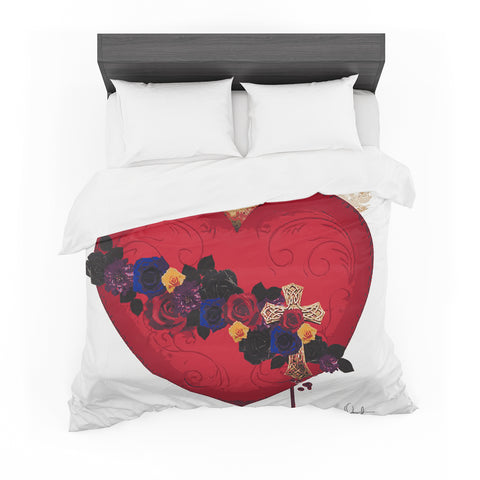 "Oriana Cordero  ""Sacred Heart For Frida"" Red Purple Featherweight Duvet Cover"