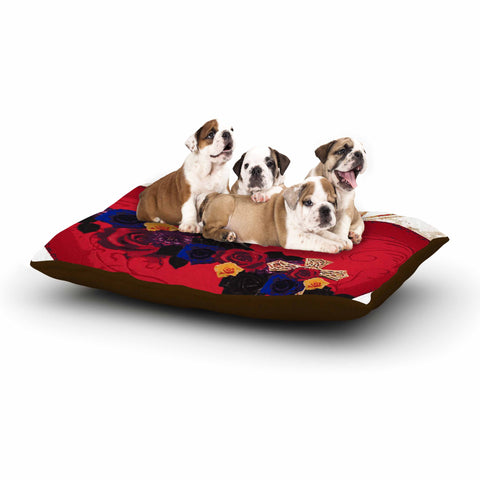 "Oriana Cordero  ""Sacred Heart For Frida"" Red Purple Dog Bed - KESS InHouse  - 1"