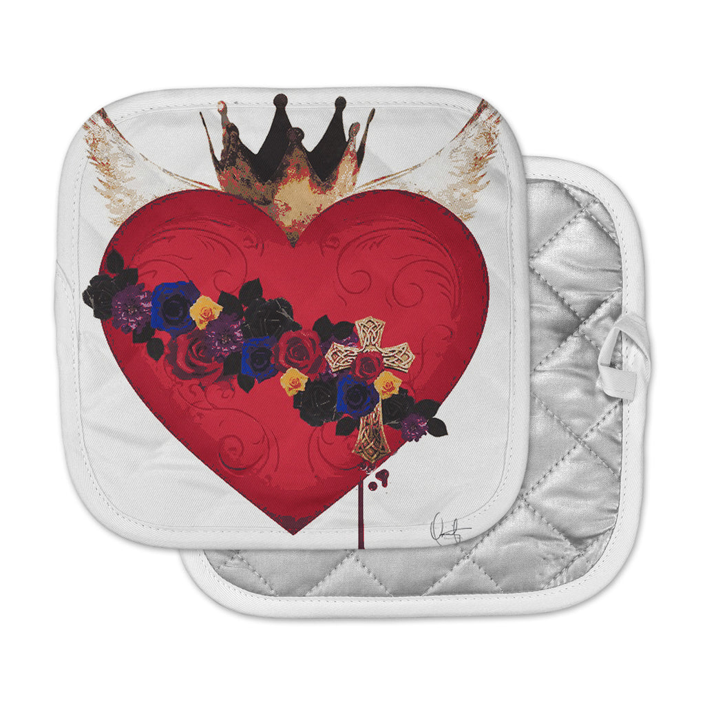 "Oriana Cordero  ""Sacred Heart For Frida"" Red Purple Pot Holder"