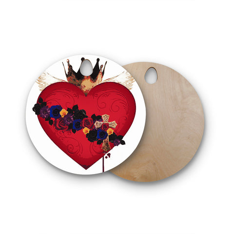 "Oriana Cordero ""Sacred Heart For Frida"" Round Wooden Cutting Board"