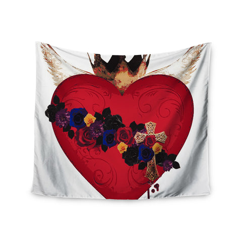"Oriana Cordero  ""Sacred Heart For Frida"" Red Purple Wall Tapestry - KESS InHouse  - 1"