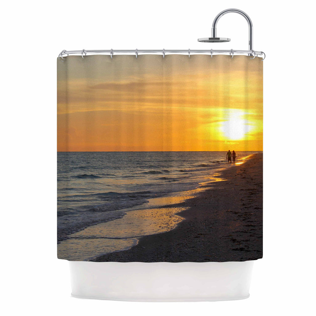 Philip Brown Sunset Beach Coral Gold Shower Curtain