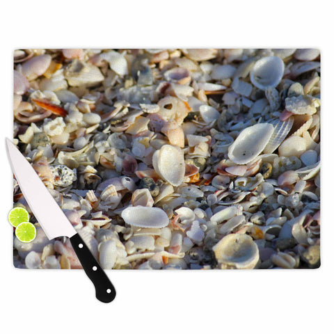 "Philip Brown ""Seashells On The Beach"" Coral Nature Cutting Board - Outlet Item"