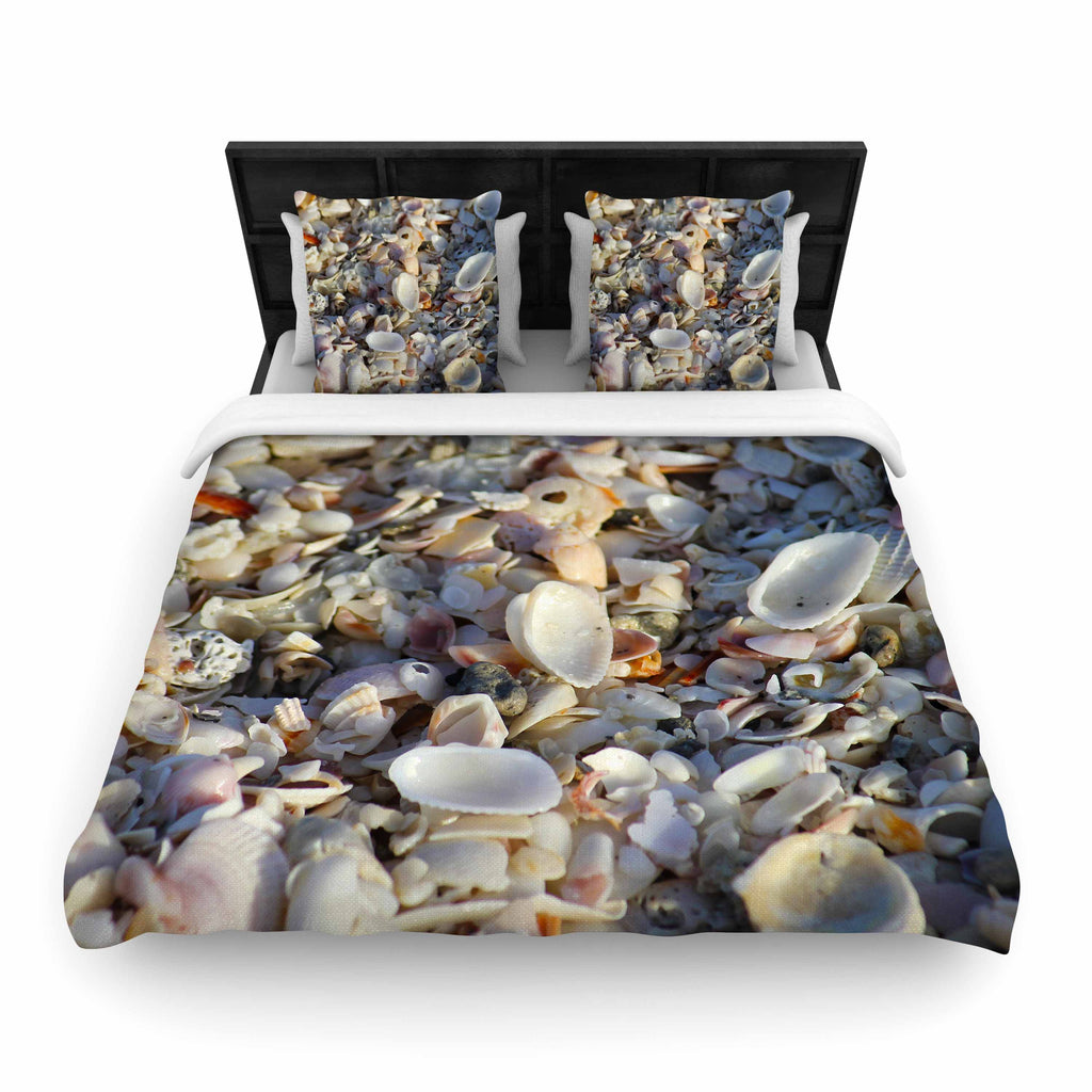 "Philip Brown ""Seashells On The Beach"" Coral Nature Woven Duvet Cover - KESS InHouse  - 1"