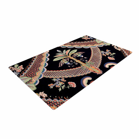"Philip Brown ""Vintage Paisley Pattern"" Black Art Deco Woven Area Rug - Outlet Item"