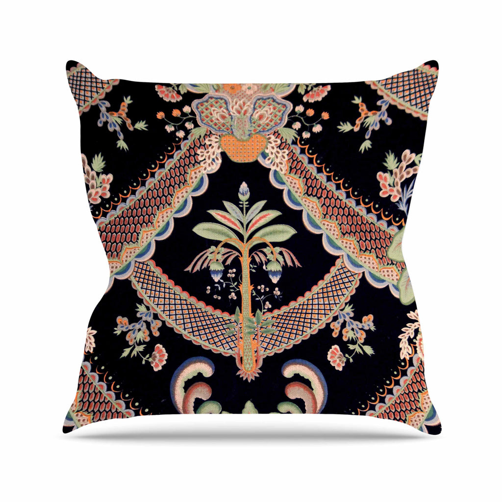 Vintage Paisley Pattern Outdoor Throw Pillow By Philip Brown Kess