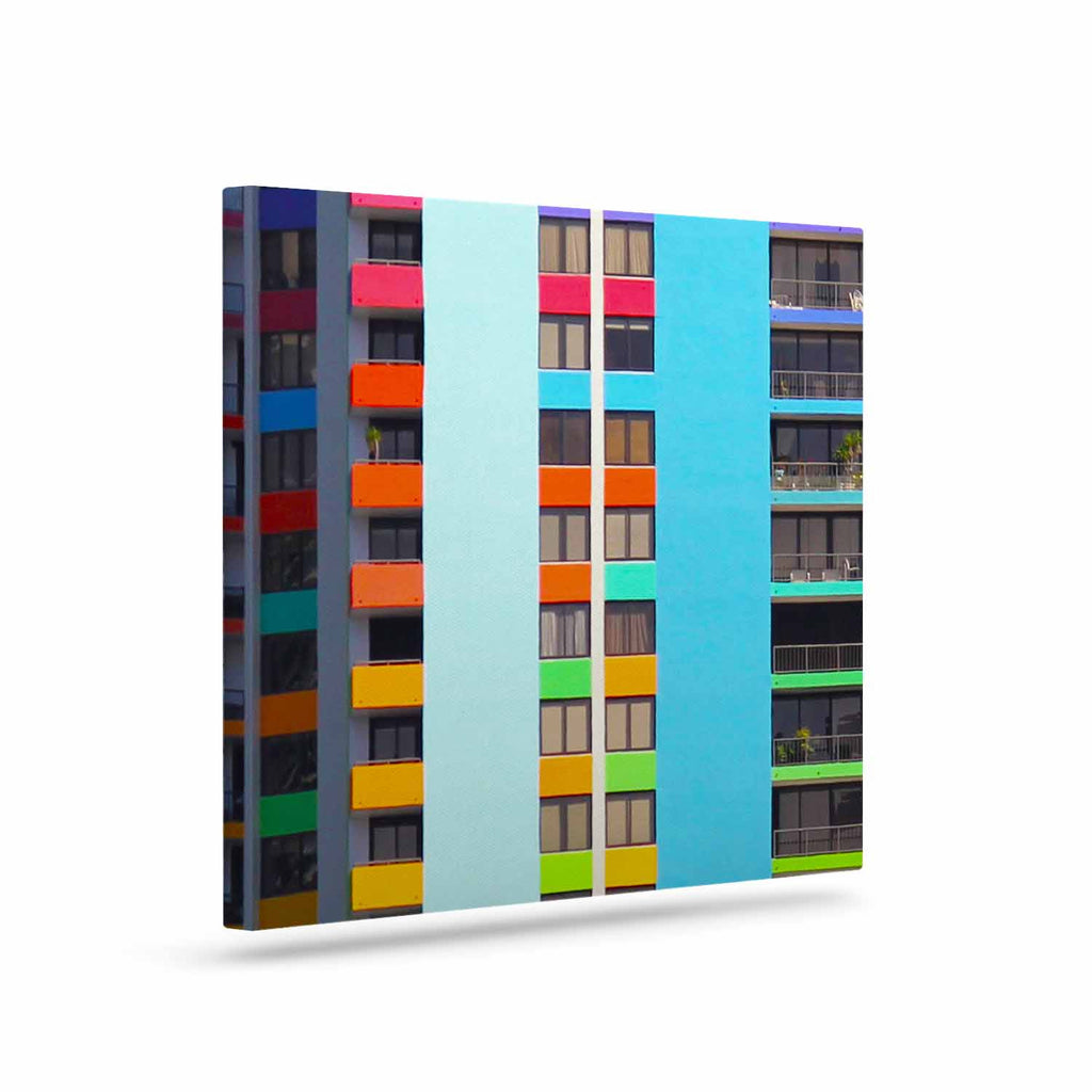 "Philip Brown ""The Rainbow Building"" Multicolor Modern Canvas Art - KESS InHouse  - 1"