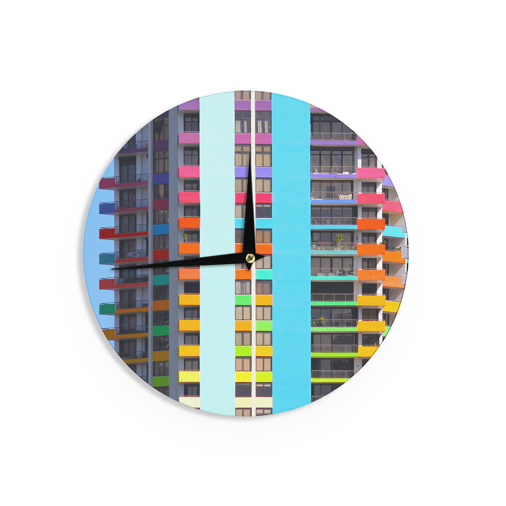 "Philip Brown ""The Rainbow Building"" Multicolor Modern Wall Clock - KESS InHouse"