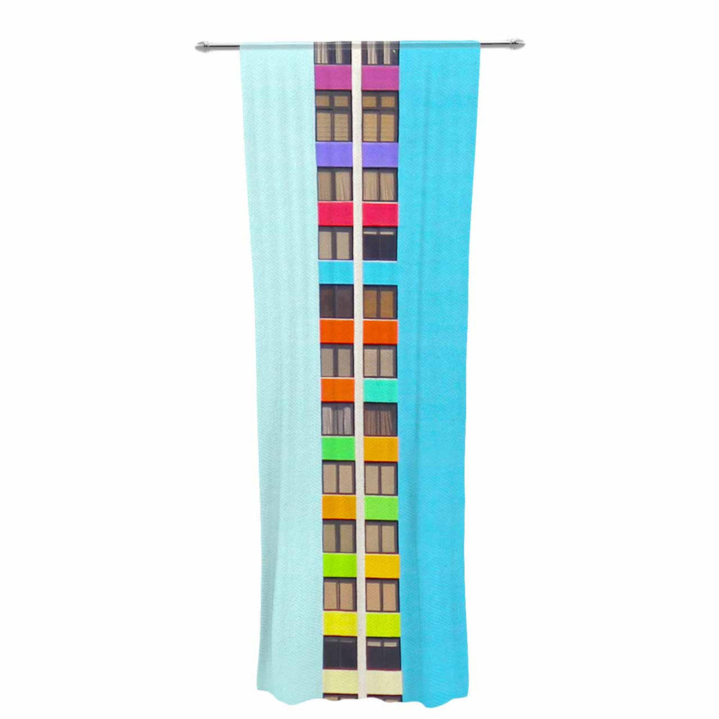 "Philip Brown ""The Rainbow Building"" Multicolor Modern Decorative Sheer Curtain - KESS InHouse  - 1"
