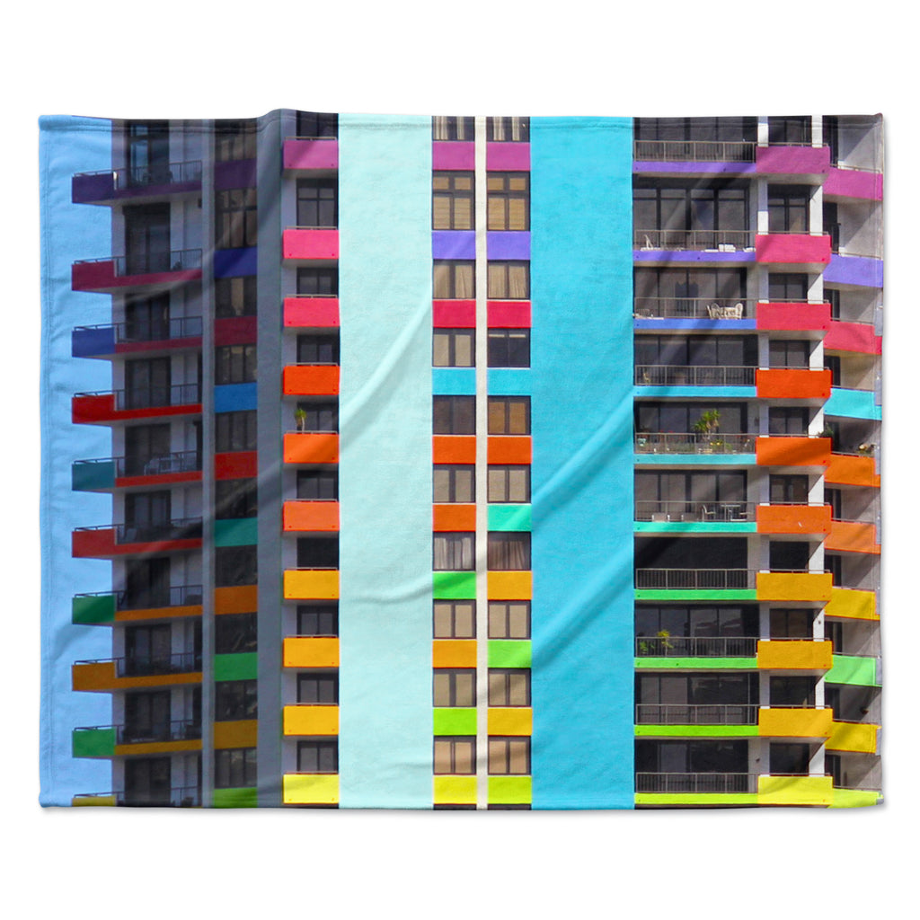 "Philip Brown ""The Rainbow Building"" Multicolor Modern Fleece Throw Blanket"