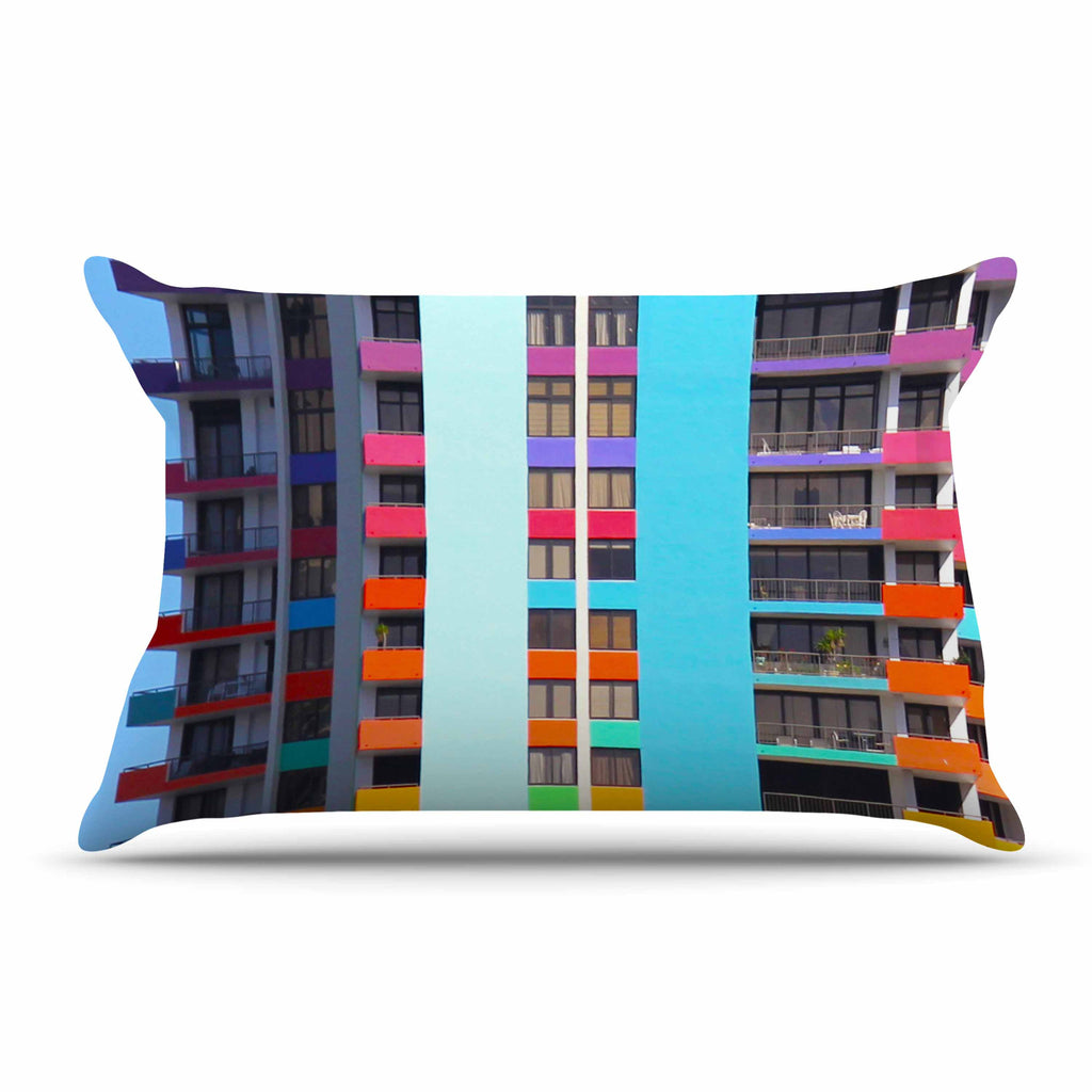 "Philip Brown ""The Rainbow Building"" Multicolor Modern Pillow Sham - KESS InHouse  - 1"
