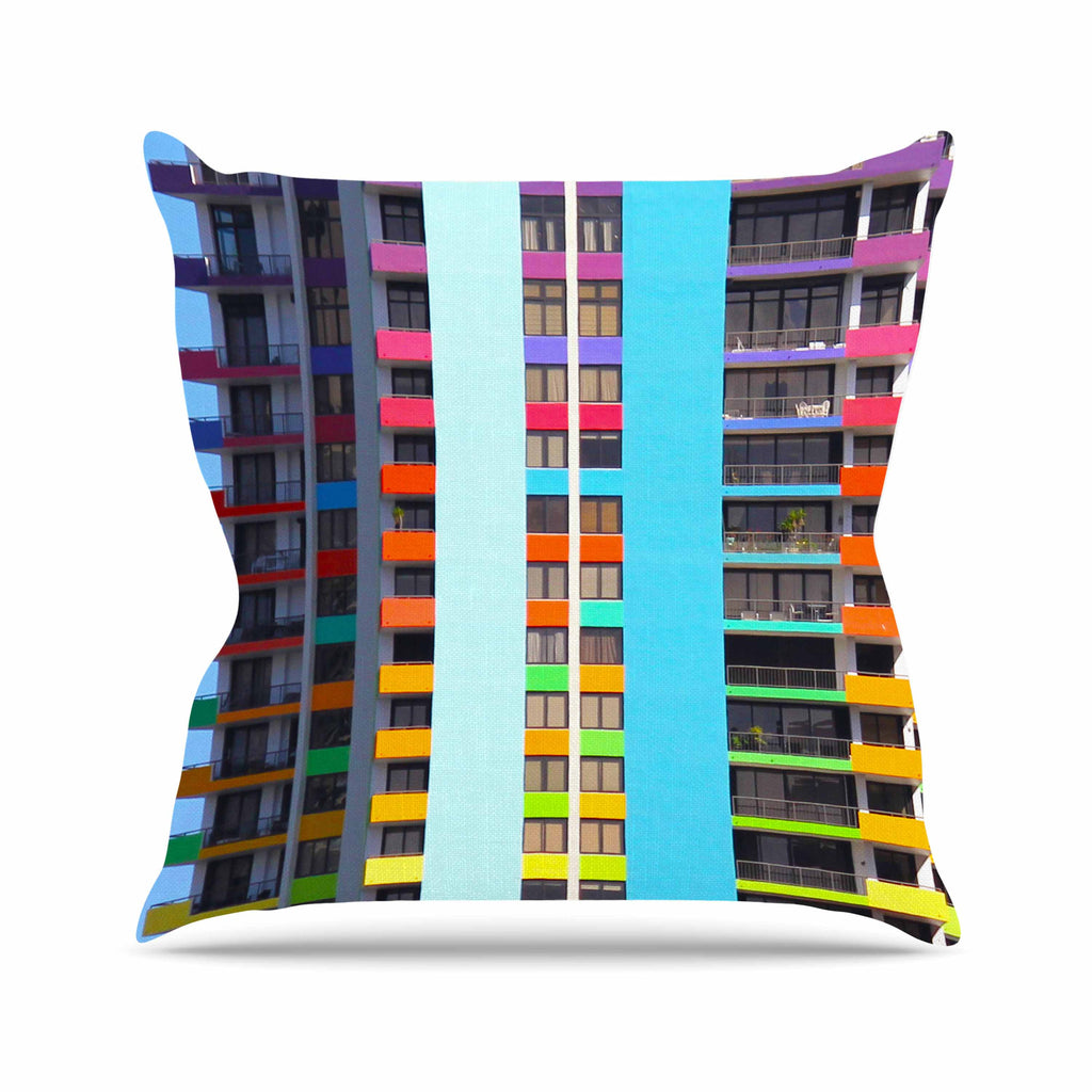 "Philip Brown ""The Rainbow Building"" Multicolor Modern Outdoor Throw Pillow - KESS InHouse  - 1"