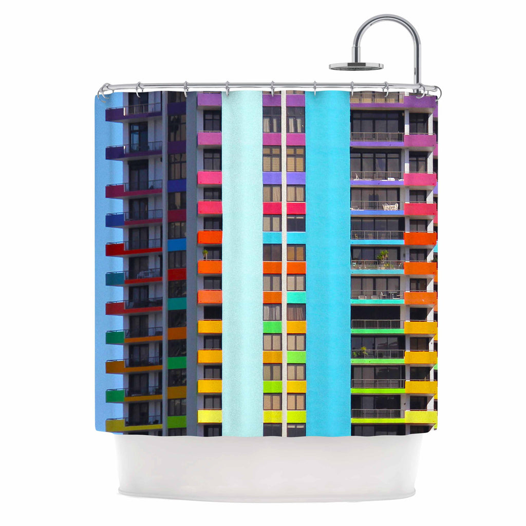 "Philip Brown ""The Rainbow Building"" Multicolor Modern Shower Curtain - KESS InHouse"