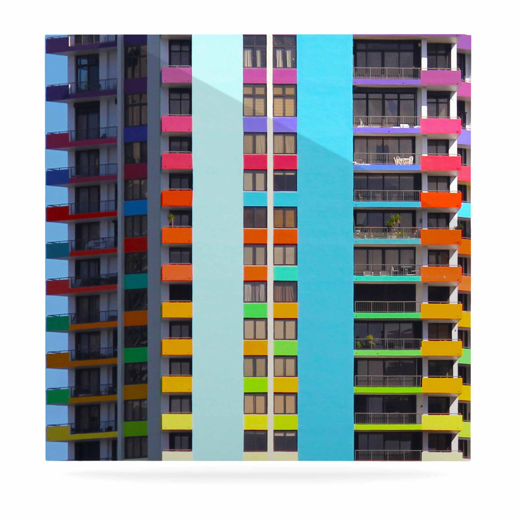 "Philip Brown ""The Rainbow Building"" Multicolor Modern Luxe Square Panel - KESS InHouse  - 1"
