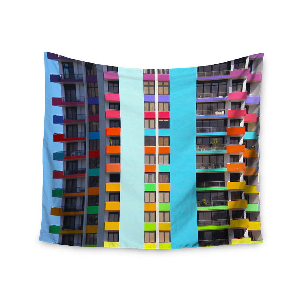 "Philip Brown ""The Rainbow Building"" Multicolor Modern Wall Tapestry - KESS InHouse  - 1"