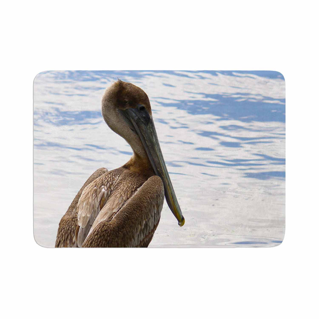 "Philip Brown ""Pelican Waiting"" Blue Photography Memory Foam Bath Mat - KESS InHouse"