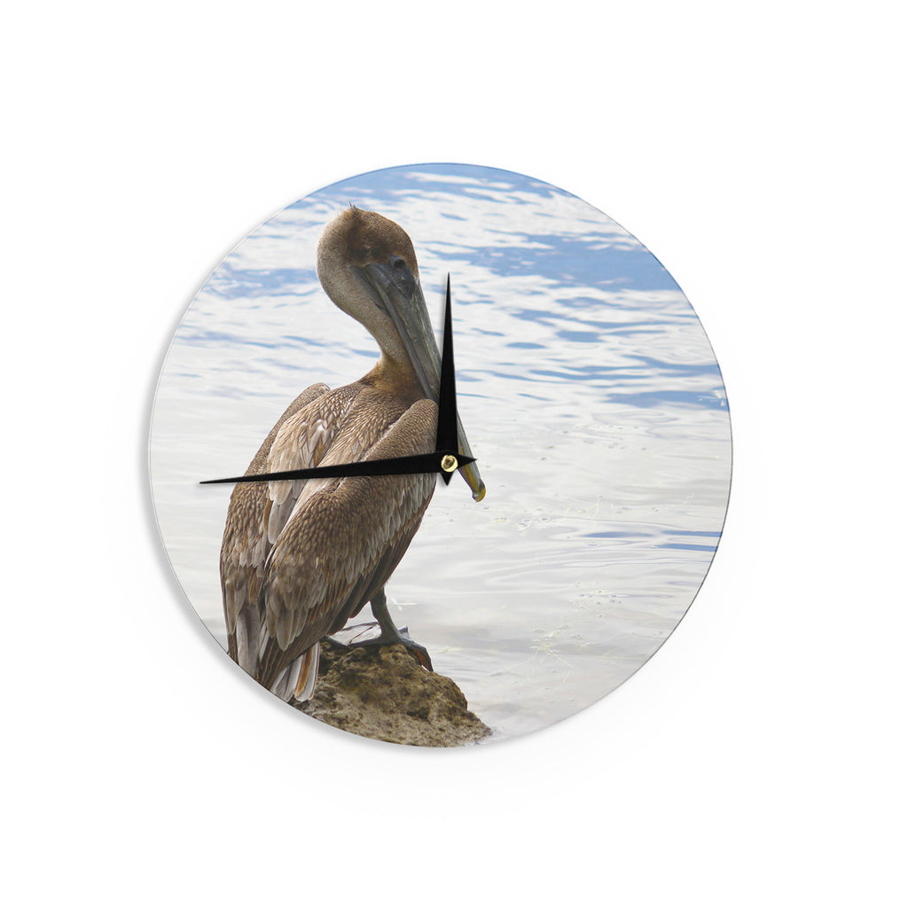 "Philip Brown ""Pelican Waiting"" Blue Photography Wall Clock - KESS InHouse"