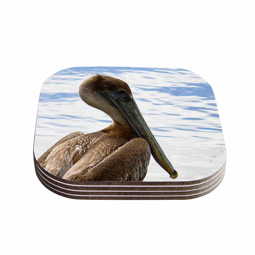 "Philip Brown ""Pelican Waiting"" Blue Photography Coasters (Set of 4)"