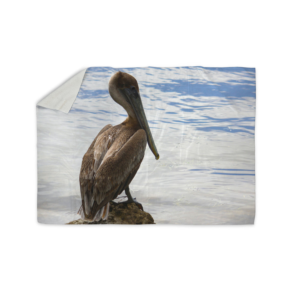 "Philip Brown ""Pelican Waiting"" Blue Photography Sherpa Blanket - KESS InHouse  - 1"