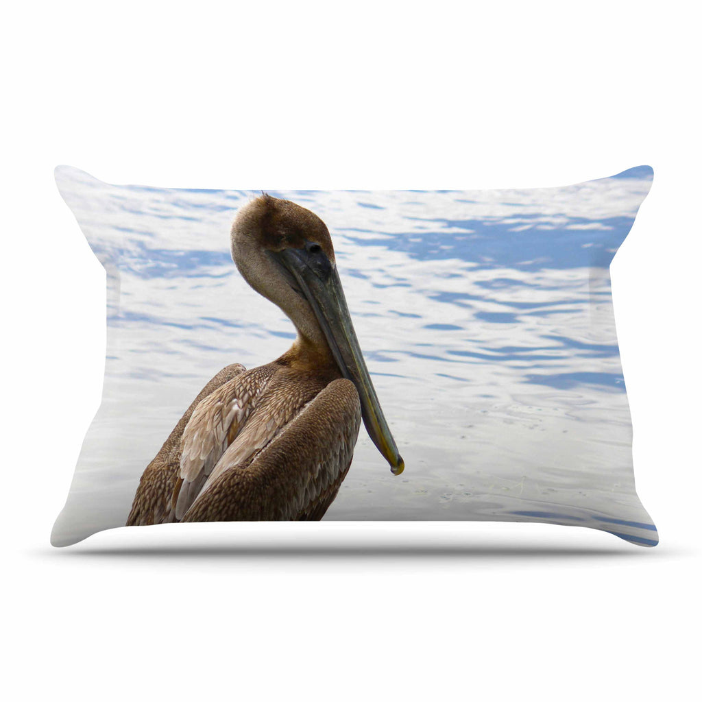 "Philip Brown ""Pelican Waiting"" Blue Photography Pillow Sham - KESS InHouse  - 1"