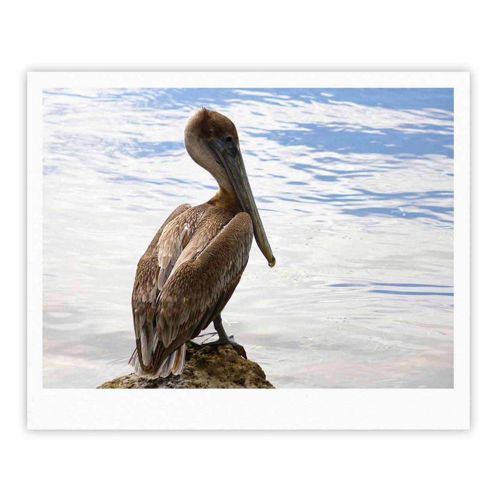 "Philip Brown ""Pelican Waiting"" Blue Photography Fine Art Gallery Print - KESS InHouse"