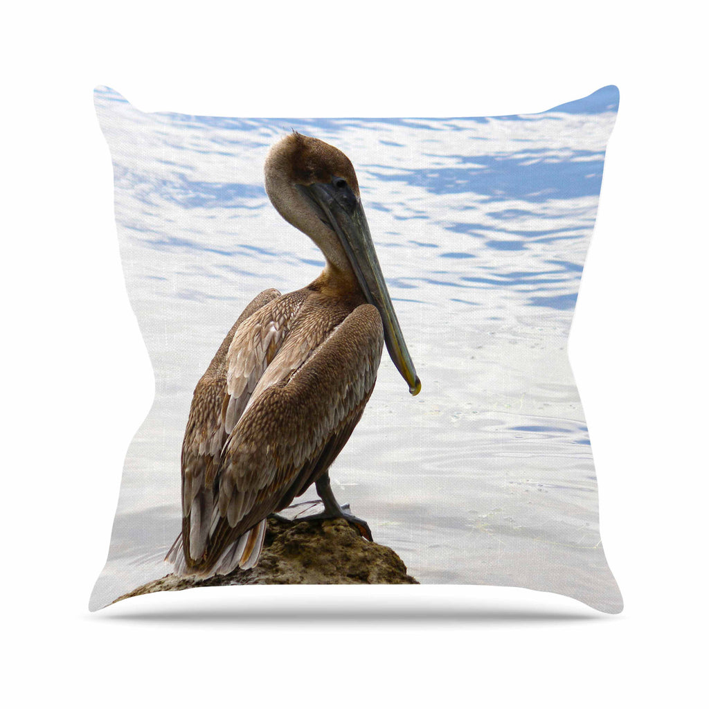 "Philip Brown ""Pelican Waiting"" Blue Photography Throw Pillow - KESS InHouse  - 1"