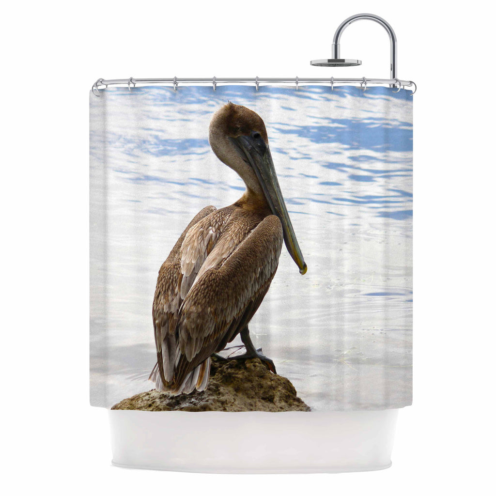 "Philip Brown ""Pelican Waiting"" Blue Photography Shower Curtain - KESS InHouse"