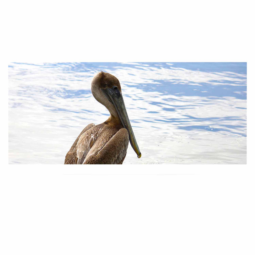 "Philip Brown ""Pelican Waiting"" Blue Photography Luxe Rectangle Panel - KESS InHouse  - 1"
