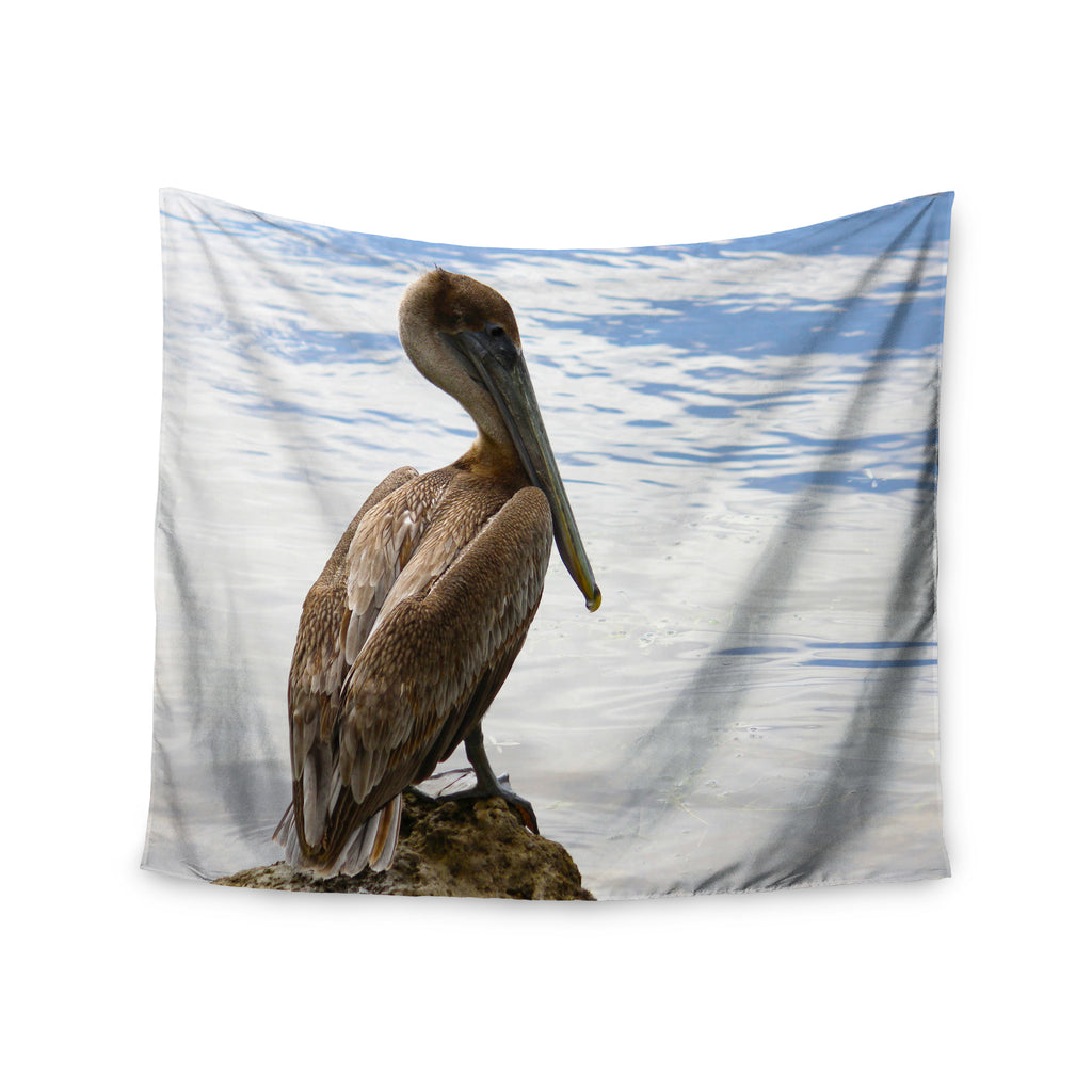 "Philip Brown ""Pelican Waiting"" Blue Photography Wall Tapestry - KESS InHouse  - 1"