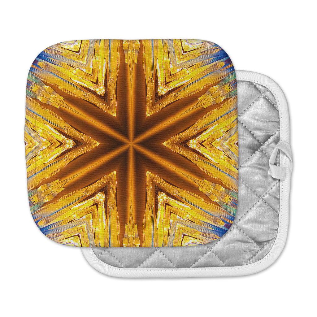 "Philip Brown ""Gold Star Icicles"" Gold Blue Pot Holder"