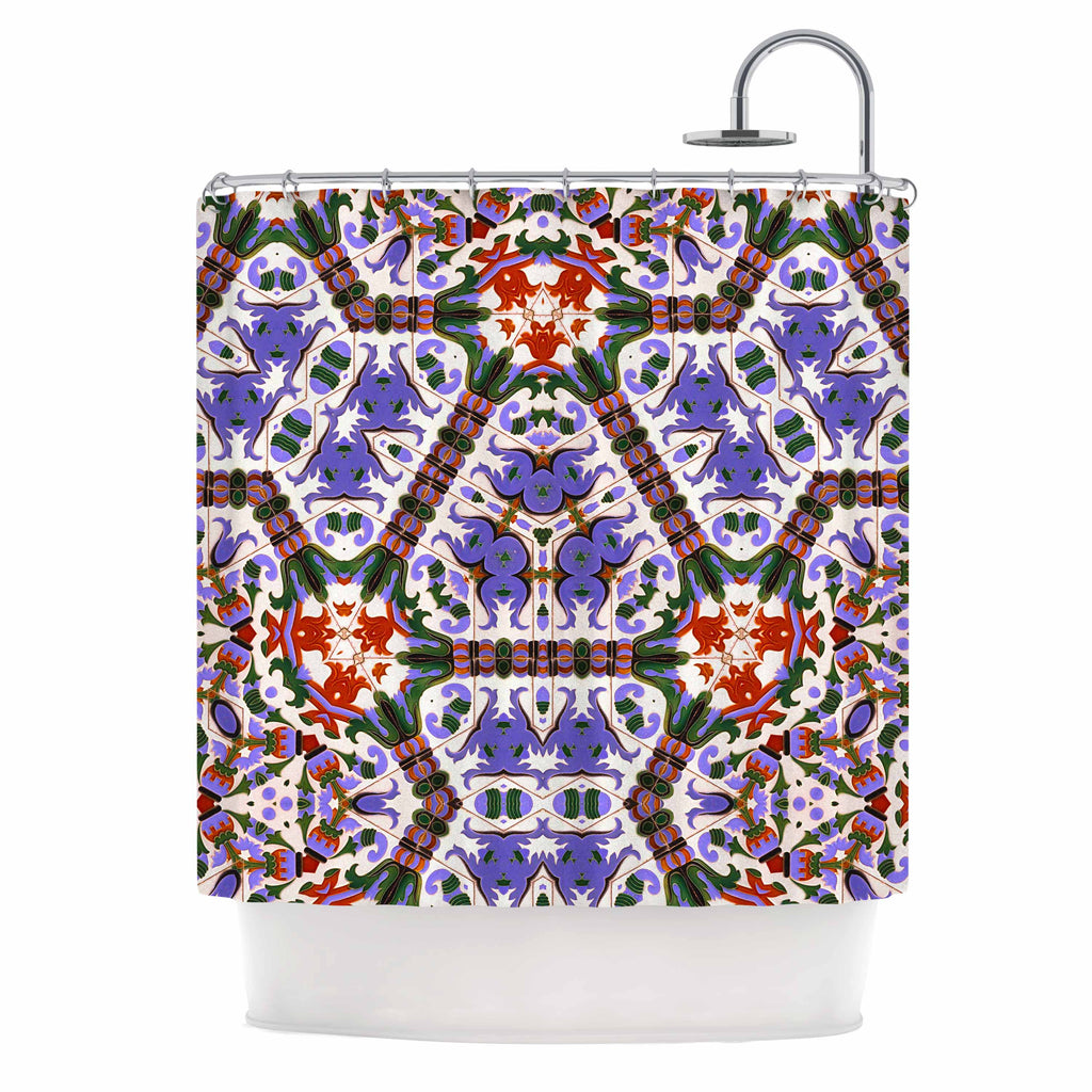 Philip Brown Spanish Tile Kaleidoscope Purple Red Geometric Pattern Digital Photography Shower Curtain