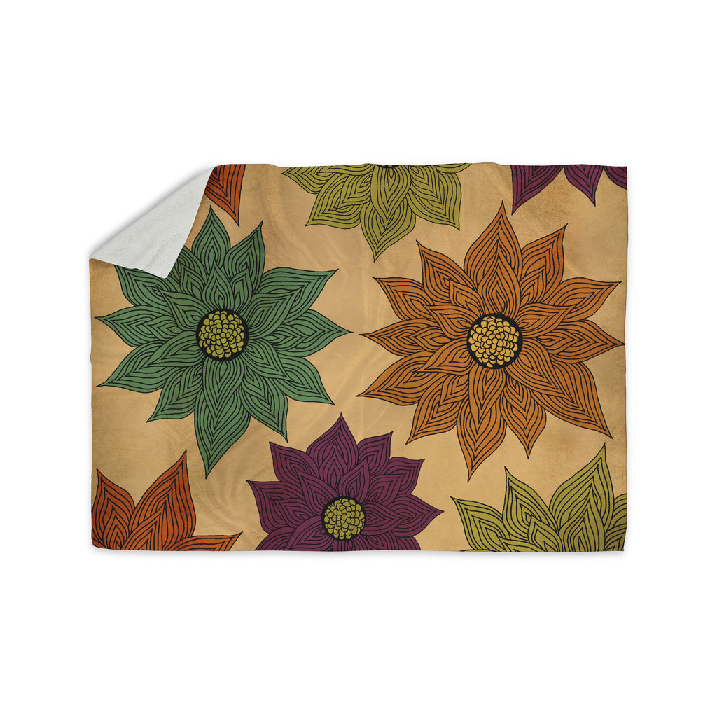 "Pom Graphic Design ""Color Me Floral"" Sherpa Blanket - KESS InHouse  - 1"