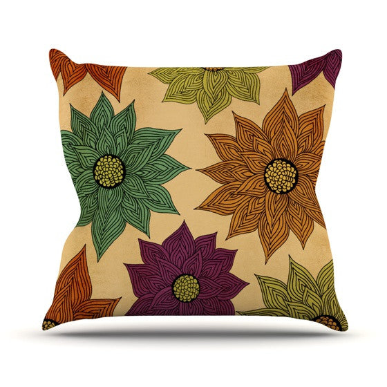 "Pom Graphic Design ""Color Me Floral"" Throw Pillow - KESS InHouse  - 1"