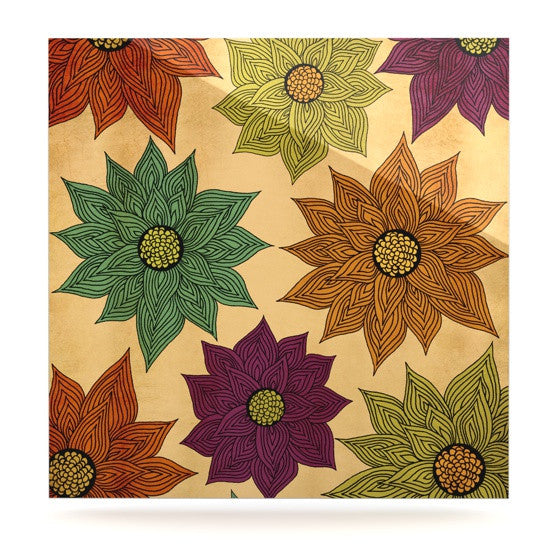 "Pom Graphic Design ""Color Me Floral"" Luxe Square Panel - KESS InHouse  - 1"
