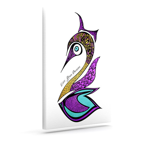 "Pom Graphic Design ""Dreams Swan"" Outdoor Canvas Wall Art - KESS InHouse  - 1"