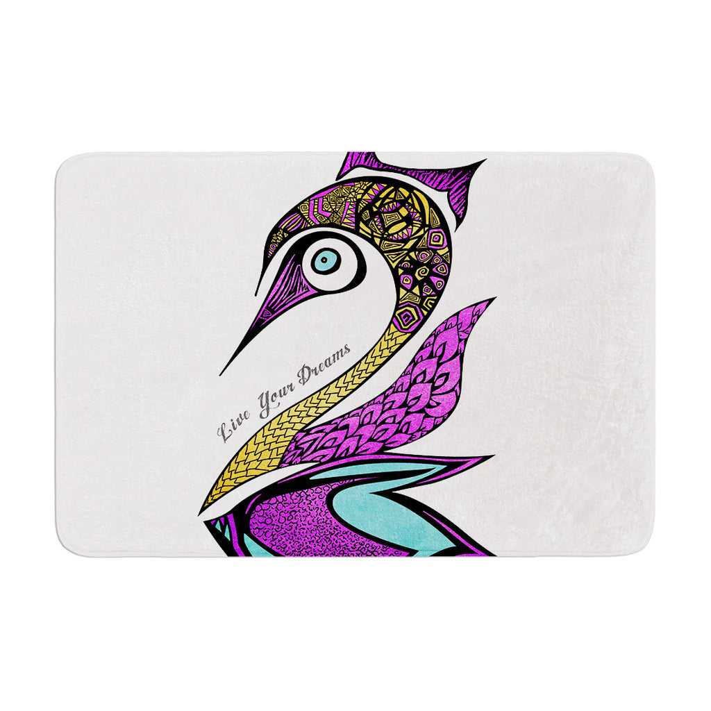 "Pom Graphic Design ""Dreams Swan"" Memory Foam Bath Mat - KESS InHouse"
